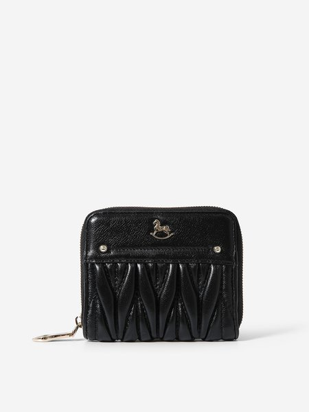 Black Zipper Cowhide Leather Wallet