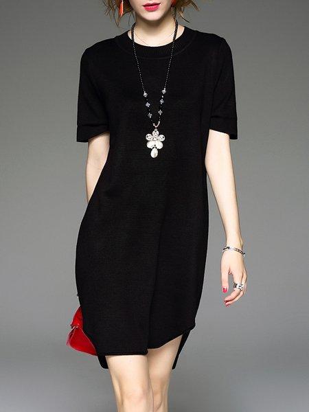 Plain Short Sleeve Casual Crew Neck Mini Dress