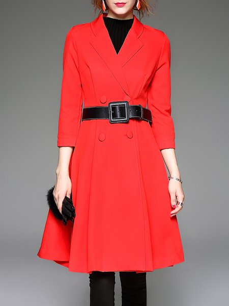 Lapel Work A-line 3/4 Sleeve Double Breasted Simple Coat with Belt