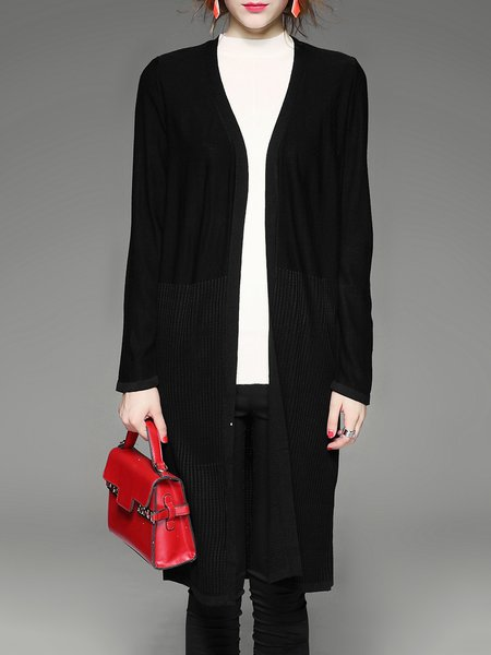 H-line Knitted Long Sleeve Casual Plain Open Collar Cardigan