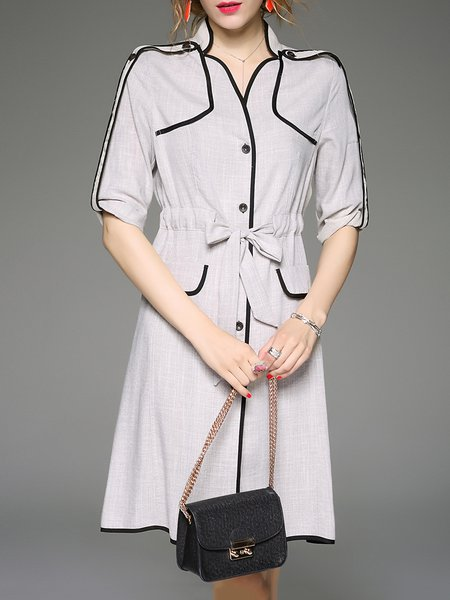 Gray Nylon Half Sleeve Bow Plain Casual Shirt Dress