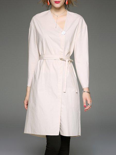 Beige Plain A-line V Neck Simple Coat