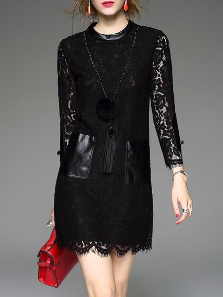 Stand Collar Short Sleeve Simple Pierced Lace Paneled  Mini Dress