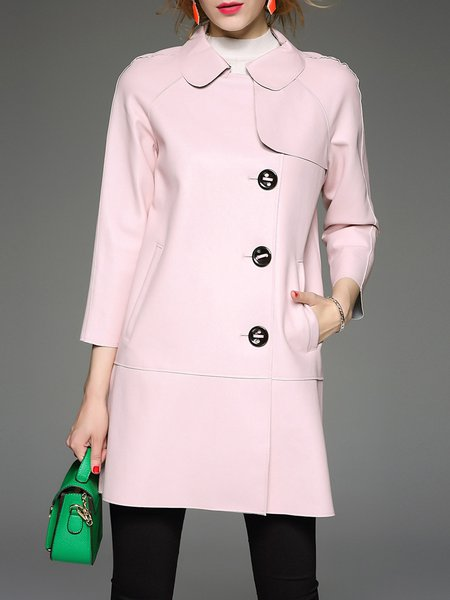 Pink Plain Long Sleeve Shirt Collar Pockets Simple Coat