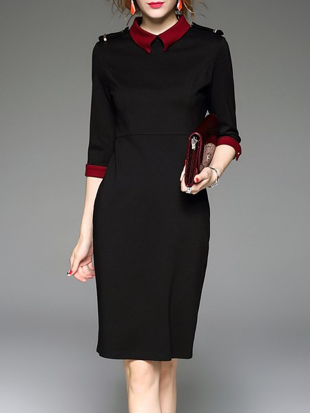 Black 3/4 Sleeve Shirt Collar Paneled Midi Dress