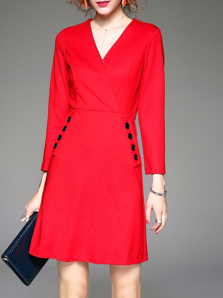 Red Plain Pockets Simple Polyester 3/4 Sleeve Mini Dress