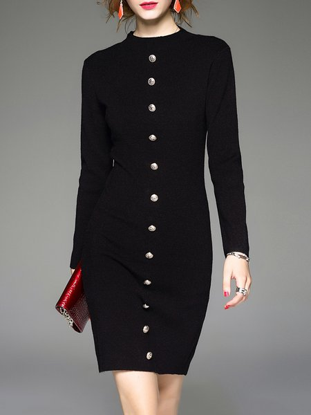 Black Buttoned Long Sleeve Sheath Mini Dress
