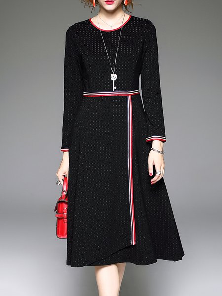 Black Long Sleeve Crew Neck A-line Midi Dress