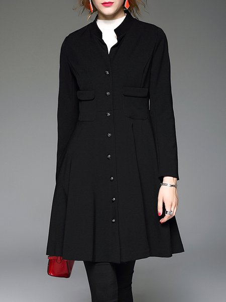 Black Stand Collar Simple Polyester Plain Folds Coat