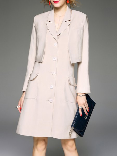 Khaki Lapel Polyester Two Piece Long Sleeve Plain Midi Dress