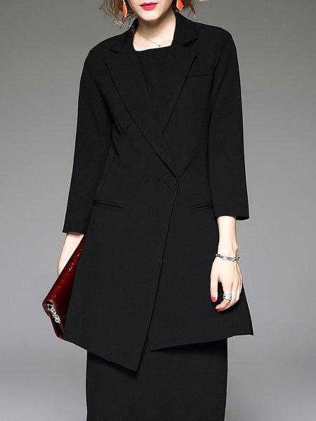 Black Cotton-blend Long Sleeve Simple Plain Coat