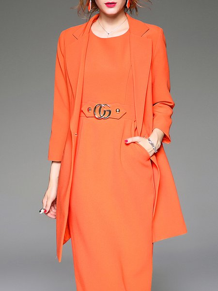 Long Sleeve Lapel Simple Coat