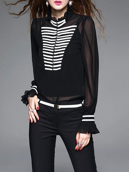 Black Long Sleeve Ribbed Casual Bodysuit