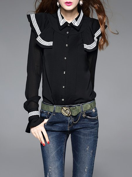 Stripes Shirt Collar Elegant Bodysuit