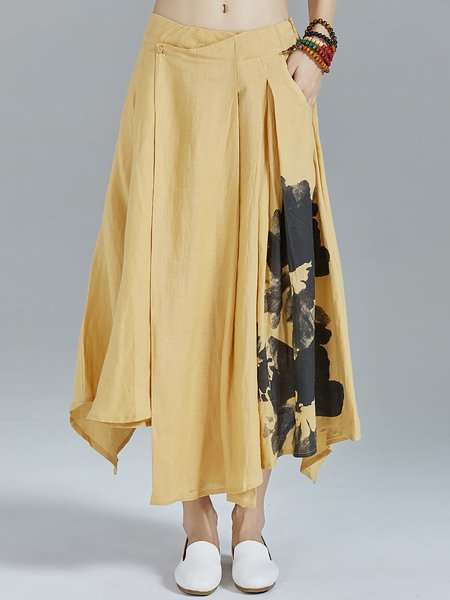 Yellow Abstract Asymmetrical Pockets Statement Midi Skirt
