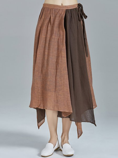 Coffee Asymmetrical Statement Color-block Paneled Linen Midi Skirt