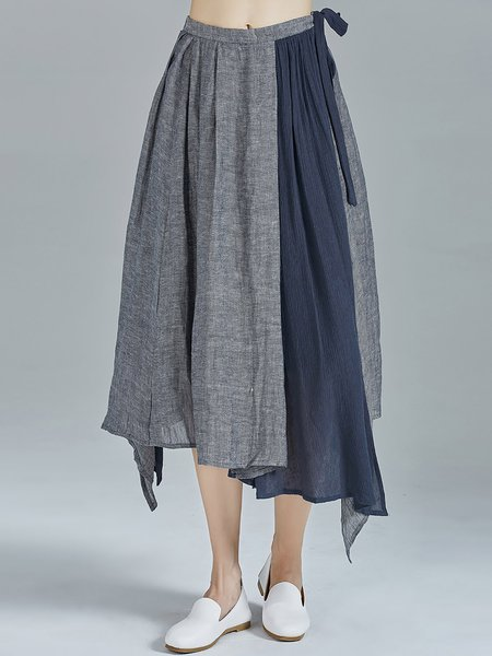 Blue Linen Statement Asymmetrical Paneled Plain Midi Skirt