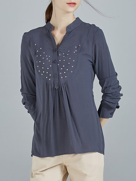 Blue Casual Pierced Viscose Plain Blouse