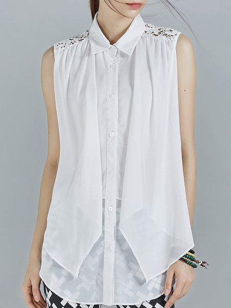 White Pierced Chiffon Shirt Collar Sleeveless Blouse