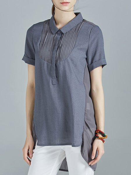 Deep Gray Casual Shirt Collar High Low Ramie Blouse