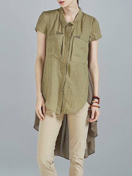 Green Folds High Low Ramie Short Sleeve Shirt Collar Tunic