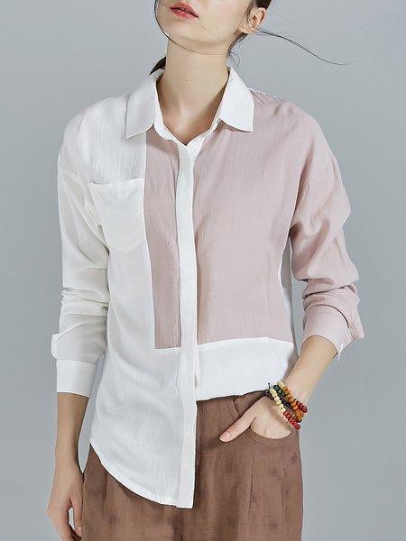 Linen Statement Color-block Asymmetrical Blouse