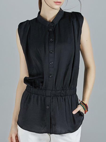 Black Chiffon Stand Collar Sleeveless Shirred Blouse