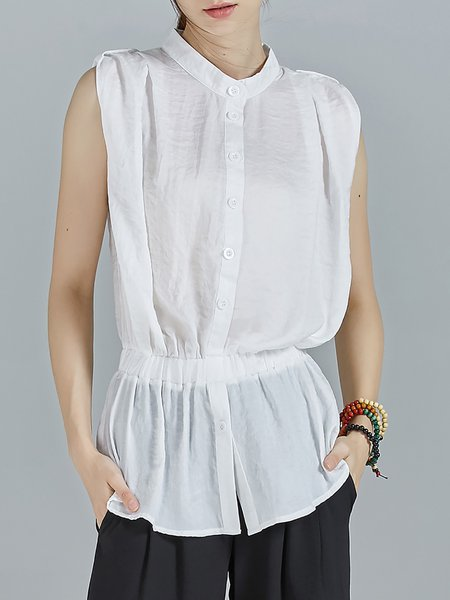 White Plain Stand Collar Simple Shirred Blouse
