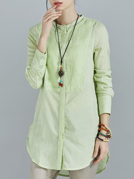 Light Green Simple Cotton Crew Neck Plain Long Sleeve Blouse