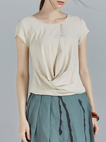 Khaki Gathered Crew Neck Buttoned Casual Plain Short Sleeved Top