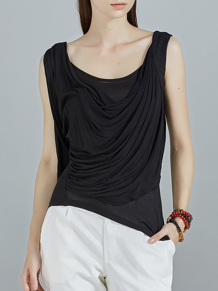 Black Stretchy Sleeveless Cowl Neck Knitted Plain Tanks