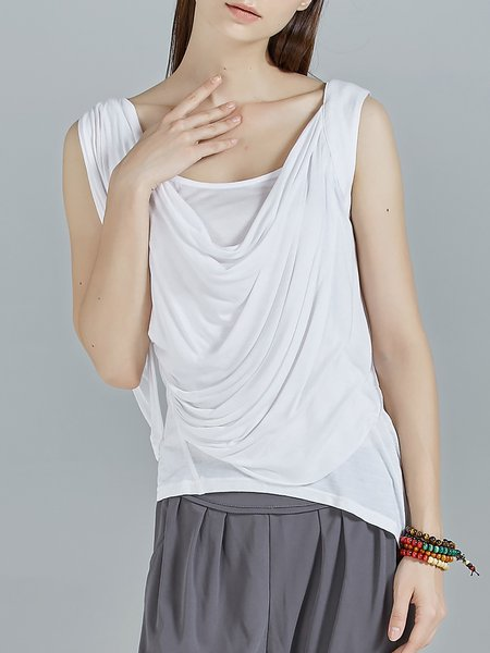 White Stretchy Sleeveless Knitted Draped Tanks