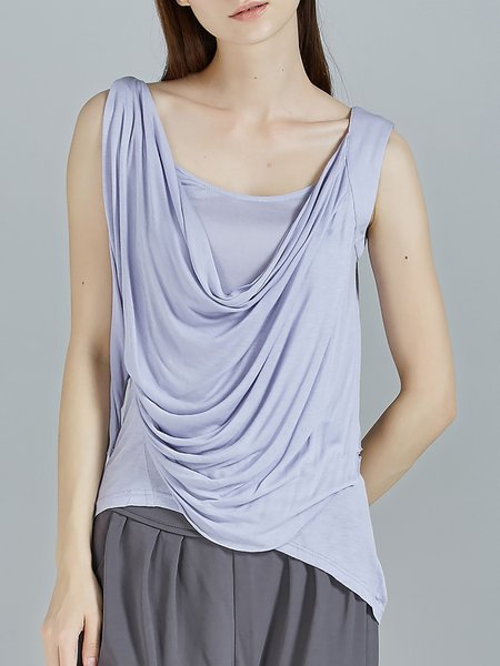 Gray Stretchy Plain Draped Casual Tanks