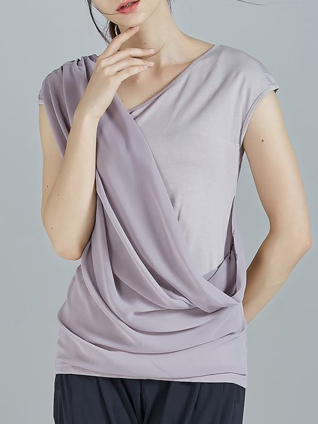 Gray Plain Statement Knitted Draped Short Sleeved Top