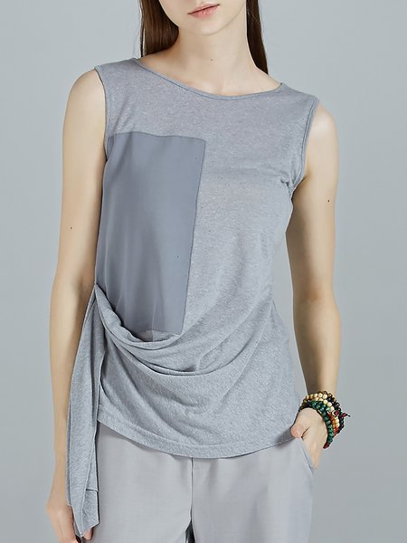 Gray Casual Plain Paneled Draped Tanks