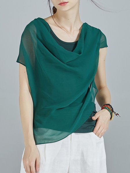 Dark Green Asymmetric Viscose Short Sleeve Paneled T-Shirt