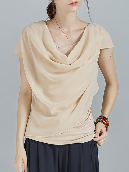 Apricot Paneled Plain Statement Asymmetric T-Shirt
