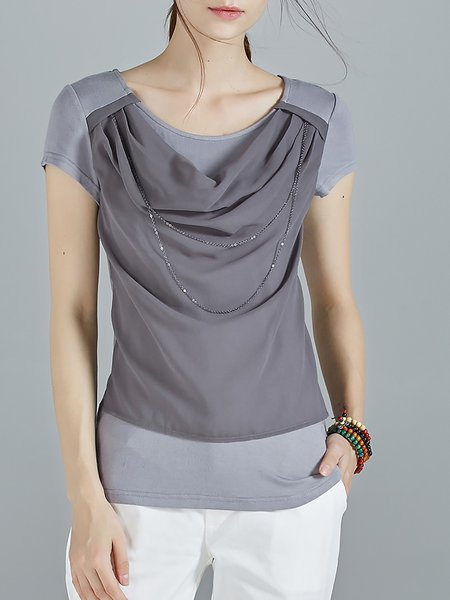 Gray Knitted Paneled Casual Chain-trimmed Cowl Neck T-Shirt