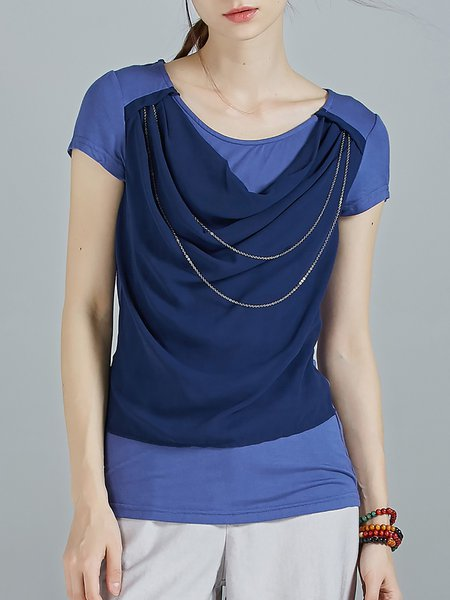 Navy Blue Cowl Neck Short Sleeve Paneled Plain T-Shirt