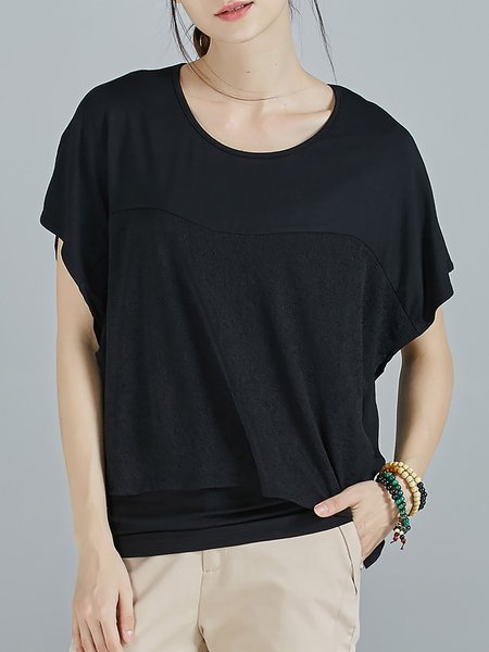 Black Knitted Simple Paneled Plain T-Shirt