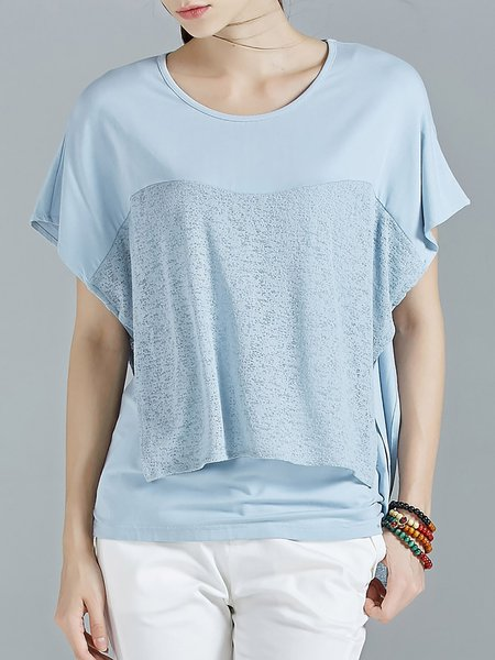 Blue Paneled Crew Neck Batwing Simple T-Shirt