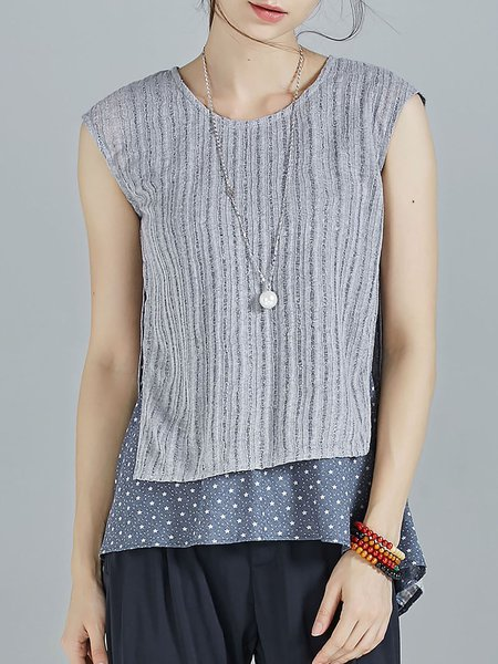 Gray Knitted Polka Dots Paneled Batwing One Piece T-Shirt