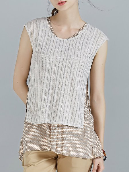 Apricot Knitted Batwing Polka Dots One Piece Crew Neck T-Shirt