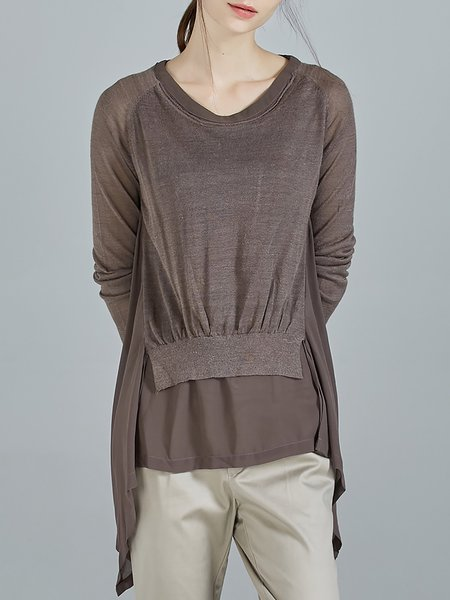 Coffee Asymmetrical Long Sleeve Crew Neck Paneled Tunic