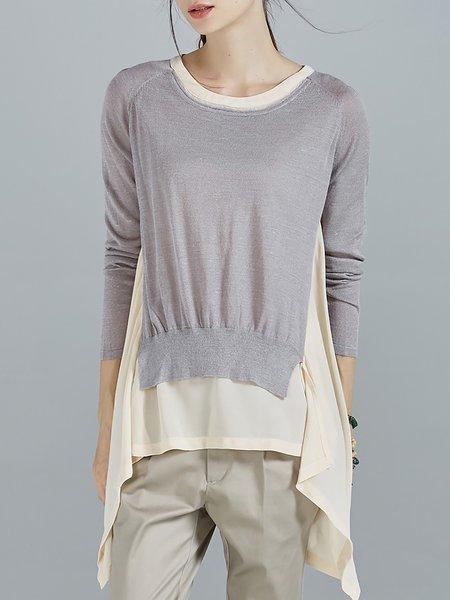 Apricot Long Sleeve Asymmetrical Chiffon Paneled Plain Tunic