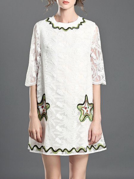 Half Sleeve Sweet Shift Embroidered Crew Neck Mini Dress