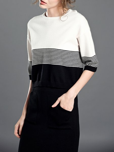 White Knitted Stripes H-line Casual Sweater