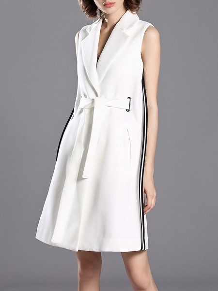 Elegant Lapel Plain Sleeveless Polyester Vests And Gilet