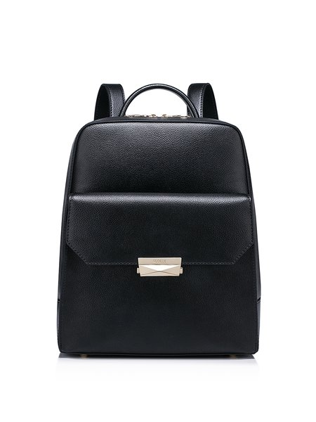 Black Small Cowhide Leather Simple Backpack