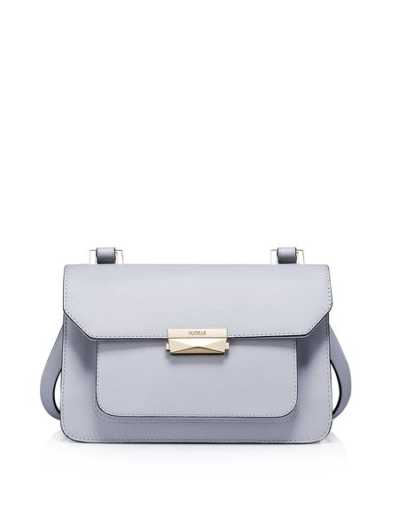 Light Gray Cowhide Leather Simple Push Lock Satchel